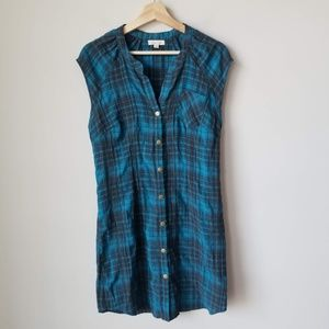 Urban Outfitters Teal Black Sleeveless Plaid Dress